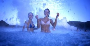 Playful Girls in Blue Lagoon
